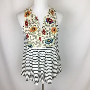 Anthropologie TINY Embroidered Floral Tank Top